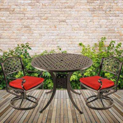 3-Piece Aluminum Outdoor Dining Set with Red Cushion