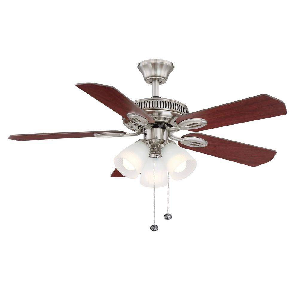 Hampton Bay Glendale 42 in. LED Indoor Brushed Nickel Ceiling Fan with on