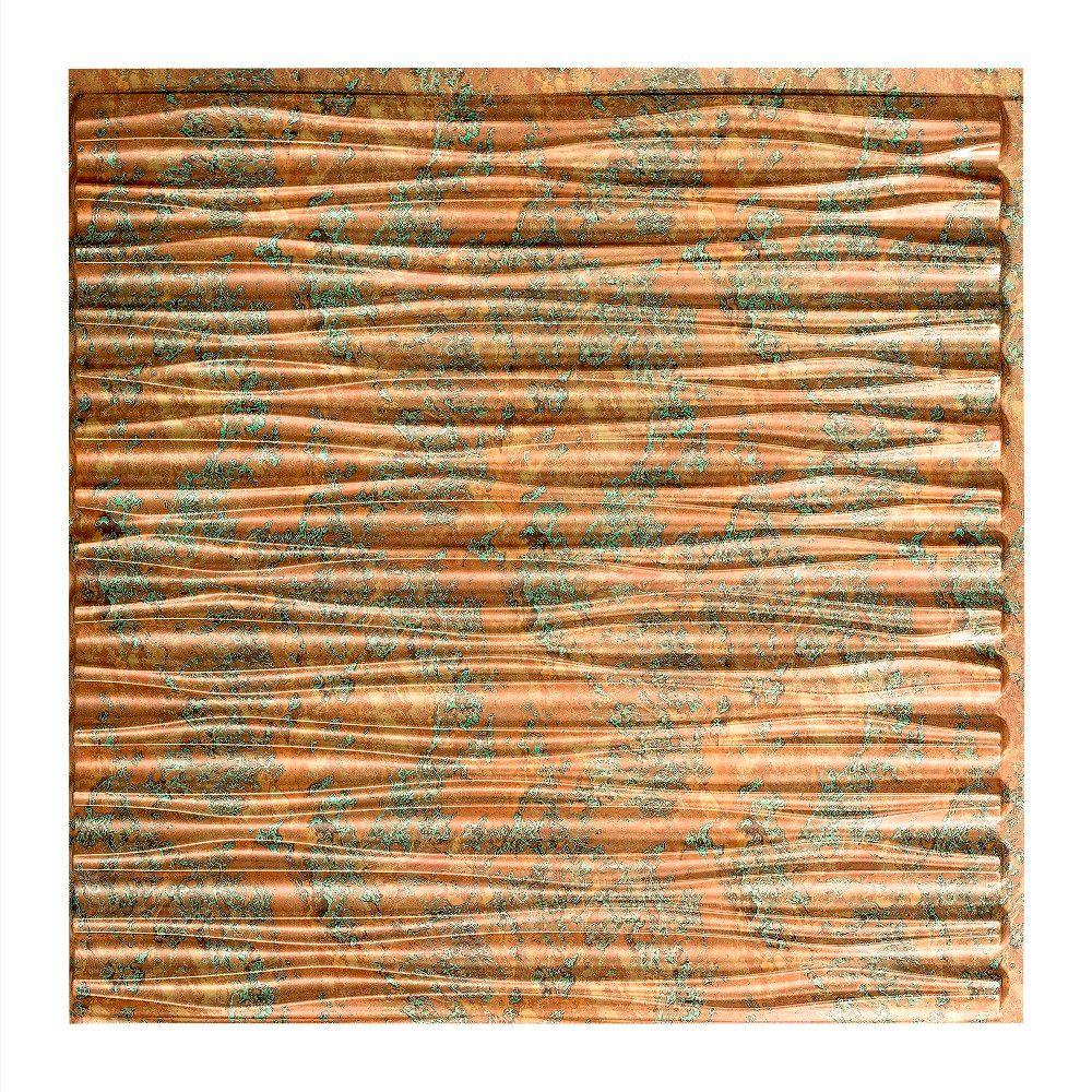Fasade Dunes Horizontal 2 Ft X 2 Ft Glue Up Ceiling Tile In Copper Fantasy G75 11 The Home Depot