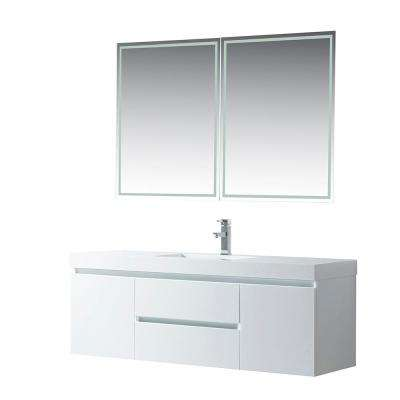 Annecy 60 in. W x 18.5 in. D x 20 in. H Bathroom Wall Hung Vanity in White with Single Basin Vanity Top in White Resin