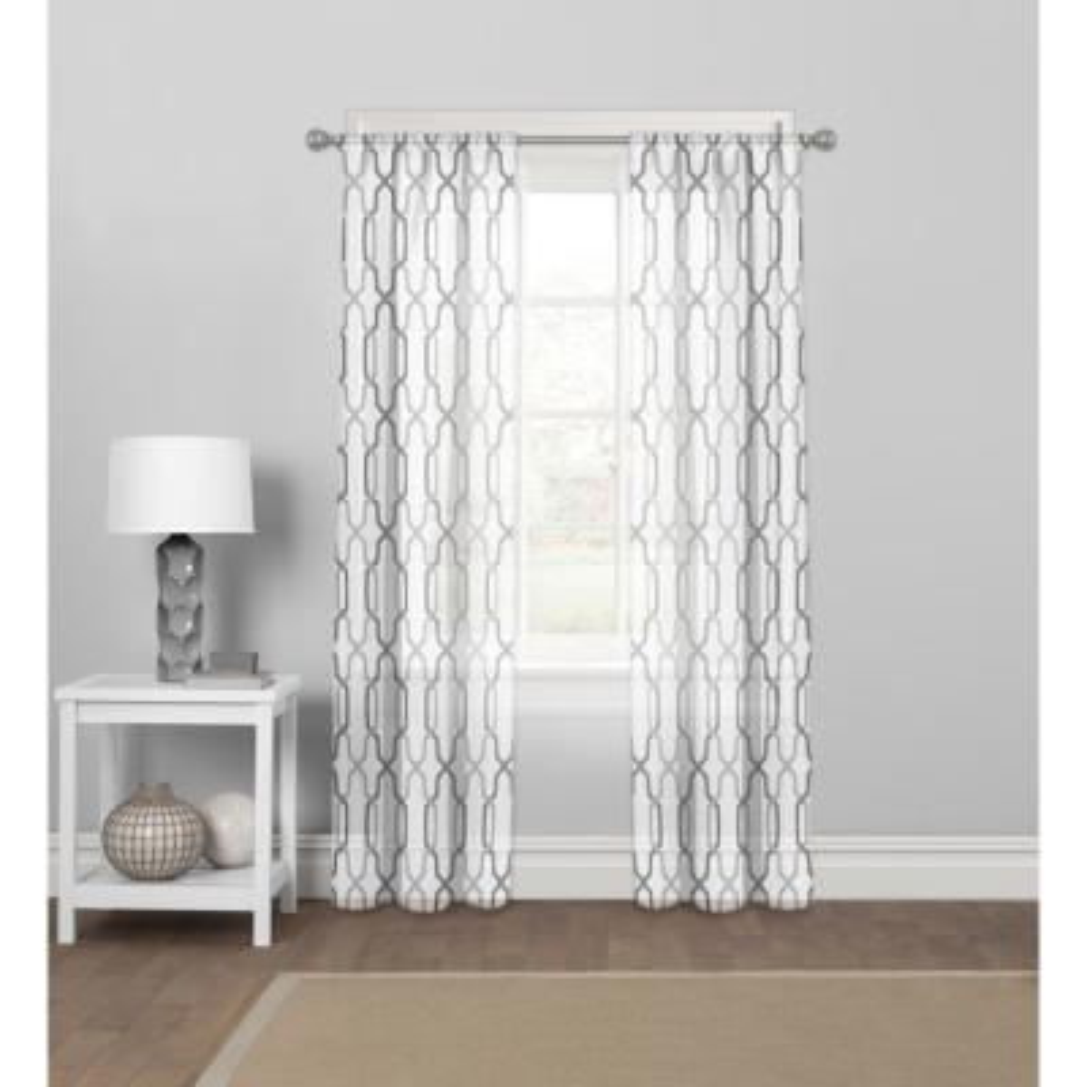 "Matrix Lyncs Sheer Grey Rod Pocket Curtain Panel 56"" W x 84"" L"