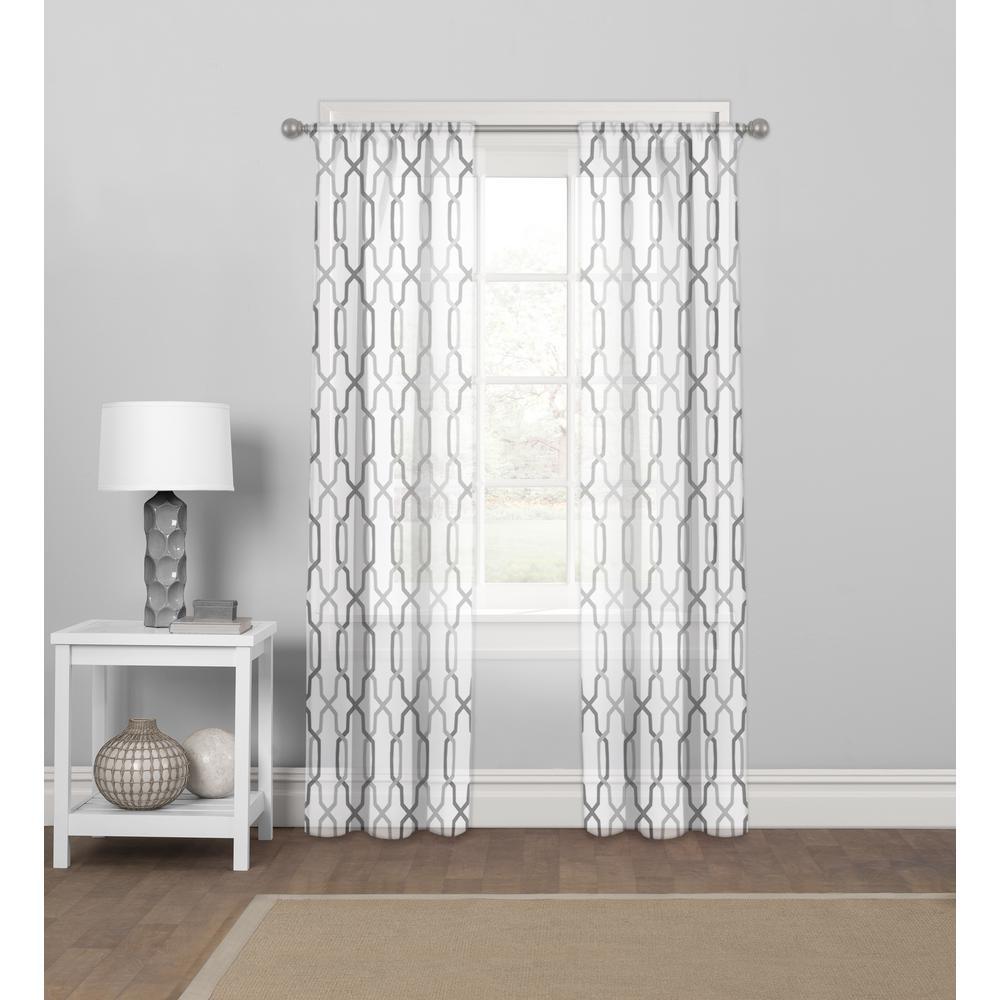 Matrix Lyncs Sheer Grey Rod Pocket Curtain Panel 56'' W x 84'' L