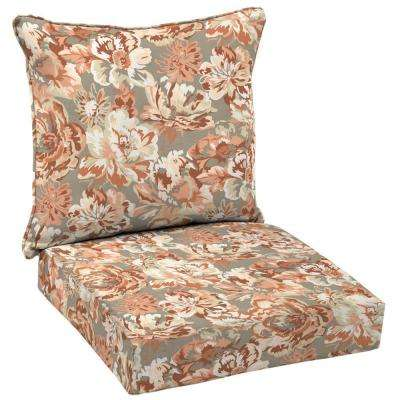 Terracotta Floral Welted 2 Piece Deep Seating Outdoor Lounge Chair Cushion  Set