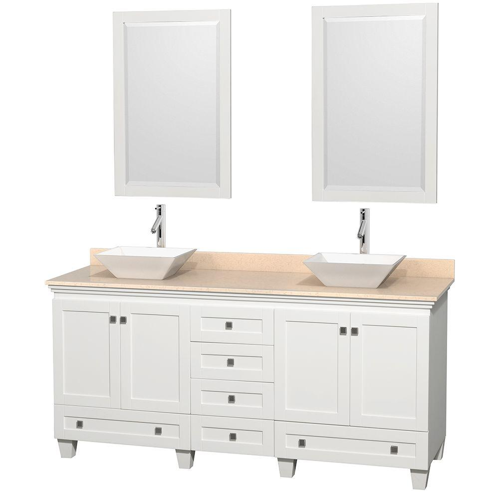 Double Vanity White Marble Vanity Top Ivory White Sinks Mirrors