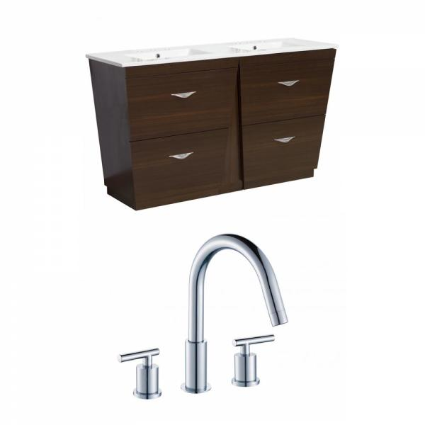 16 Gauge Sinks 59 In W X 18 In D Bath Vanity In Wenge With Ceramic Vanity Top In White With White Basin 16gs 9063 The Home Depot