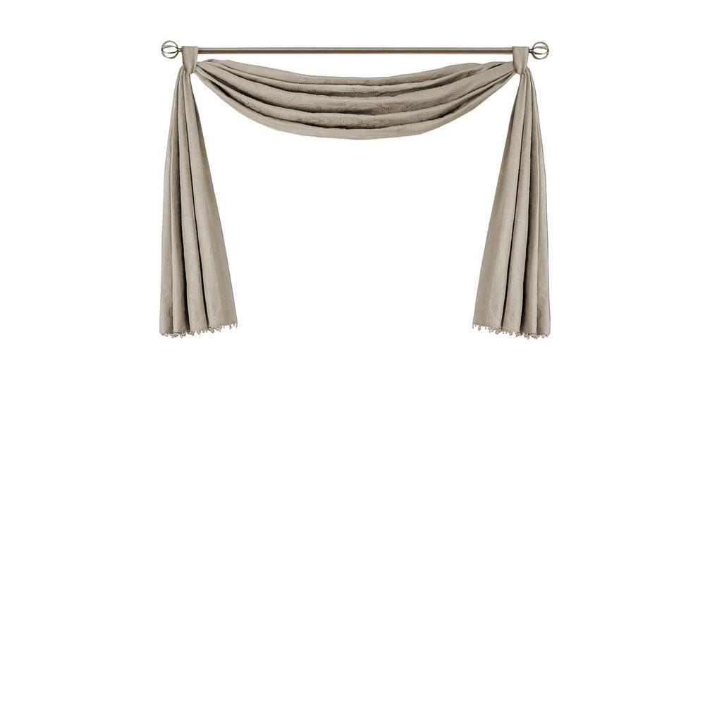 Elrene Leila Single Scarf Blackout Polyester Window Valance 144 in. W x 52 in. L, Beige