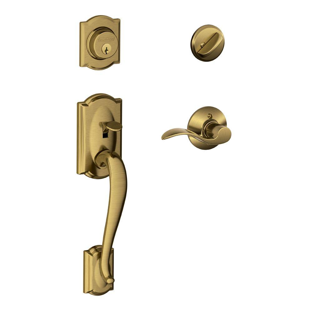 Camelot Antique Brass Single Cylinder Deadbolt with Right Handed Accent Lever