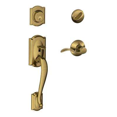 Camelot Antique Brass Single Cylinder Deadbolt with Right Handed Accent Lever Door Handleset