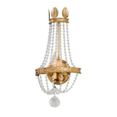Viola Distressed Gold Leaf Wall Mount Sconce