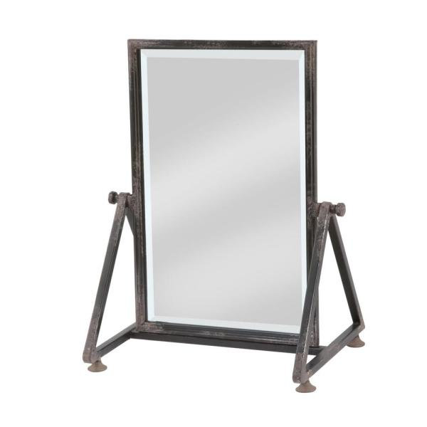 25 in. x 21 in. Rustic Rectangle Framed Black Tilting Standing Mirror