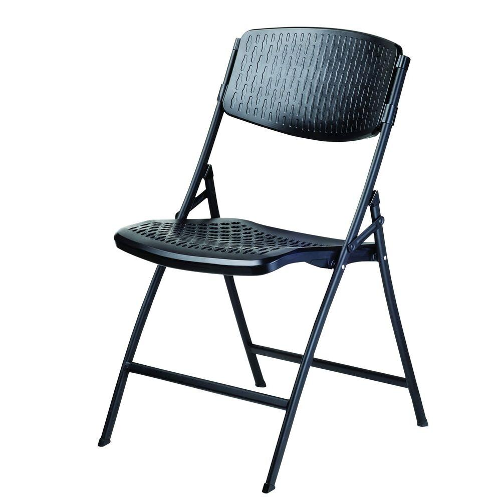 Chairs At Home Depot: HDX Folding Contour Chair Black 4-Pack-CHR-036A