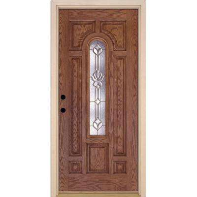 37.5 in. x 81.625 in. Medina Brass Center Arch Lite Stained Medium Oak Right-Hand Inswing Fiberglass Prehung Front Door