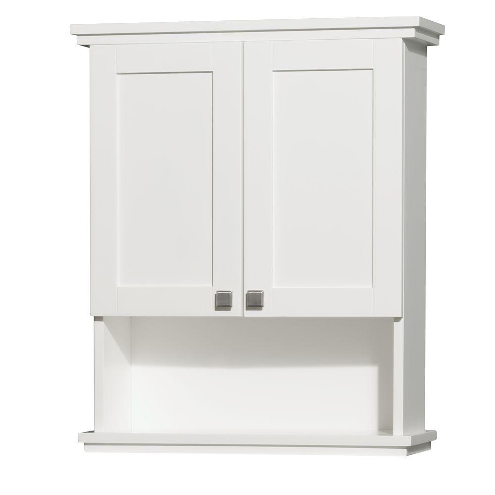 Wyndham Collection Acclaim 25 In W X 30 In H X 9 1 8 In D Bathroom Storage Wall Cabinet In White Wcv8000wcwh The Home Depot
