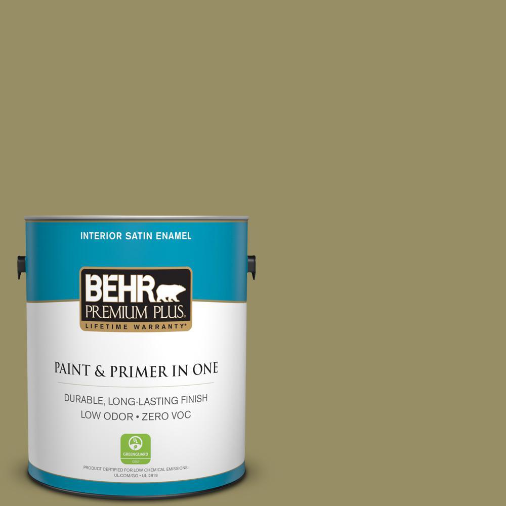 BEHR Premium Plus 1-gal. #390F-6 Tate Olive Zero VOC Satin Enamel Interior Paint