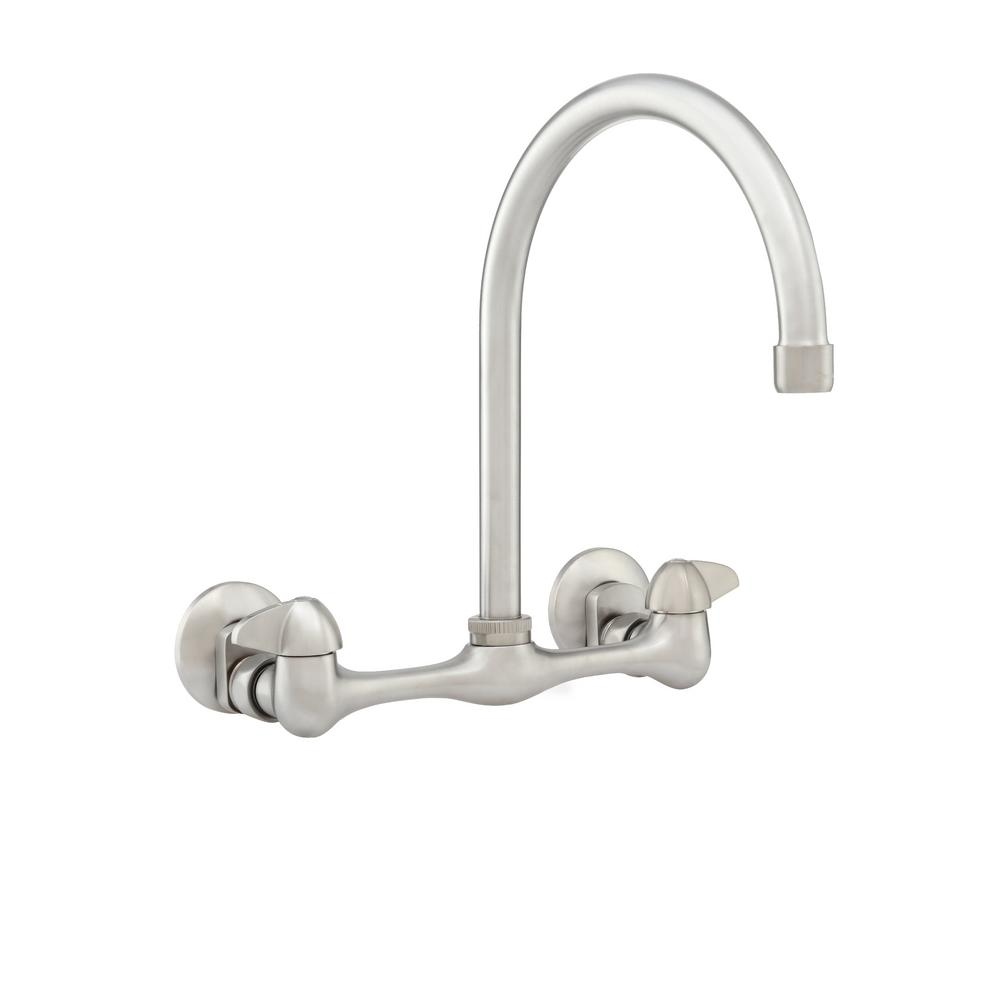 Glacier Bay 2-Handle Wall Mount High-Arc Kitchen Faucet in Chrome ...
