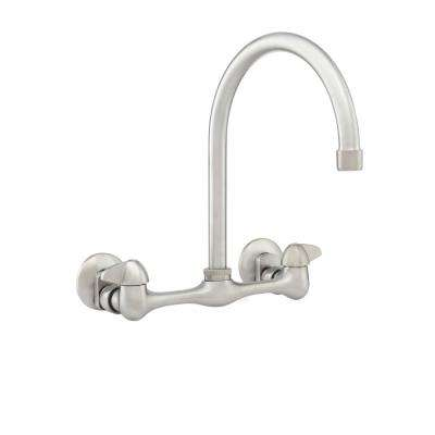 Builders 2-Handle Wall Mount Hi-Arc Standard Kitchen Faucet in Stainless Steel