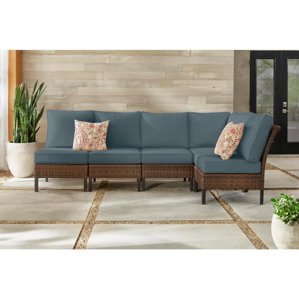 Harper Creek 6-Piece Brown Steel Outdoor Patio Sectional Sofa Seating Set with Sunbrella Denim Blue Cushions
