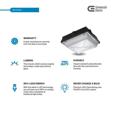 70-Watt Equivalent Integrated LED Bronze Canopy Light and Area Light with 2200 Lumens, Outdoor Security Lighting