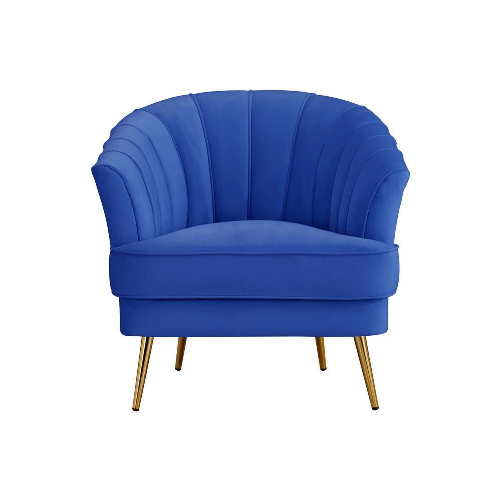Barrel Velvt Blue with 4-Wood Leg Armrest Chair