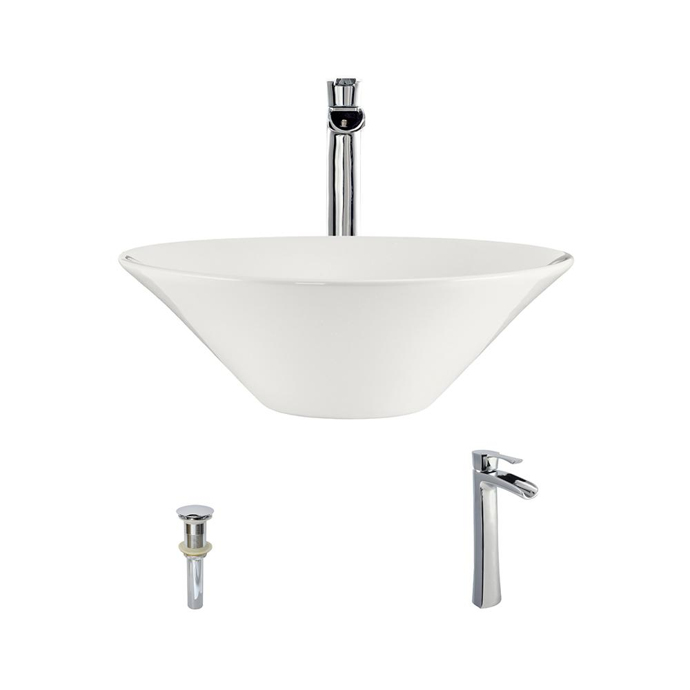 MR Direct Porcelain Vessel Sink in Bisque with 731 Faucet...