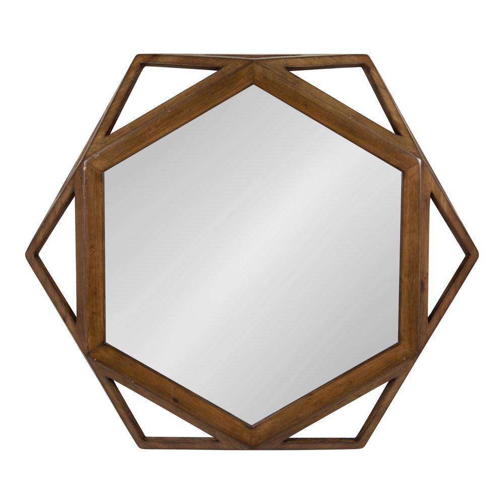Cortland Round Brown Wall Mirror