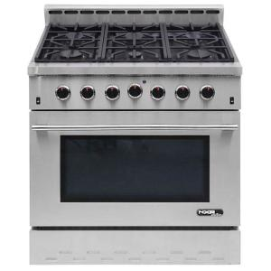 NXR Entree 36 inch 5.5 cu. ft. Professional Style Gas Range with Convection Oven in Stainless Steel by NXR