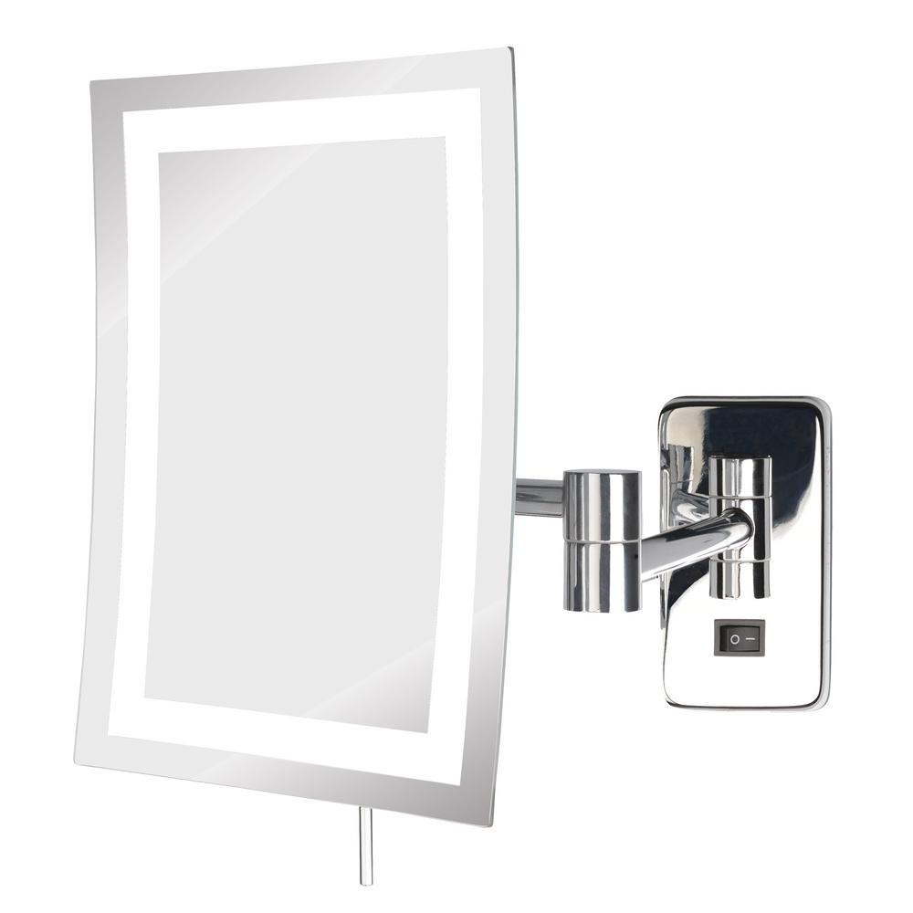 8 in. x 11 in. LED Lighted Wall Mirror in Chrome