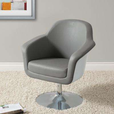 Mod Modern Grey and White Bonded Leather Accent Chair