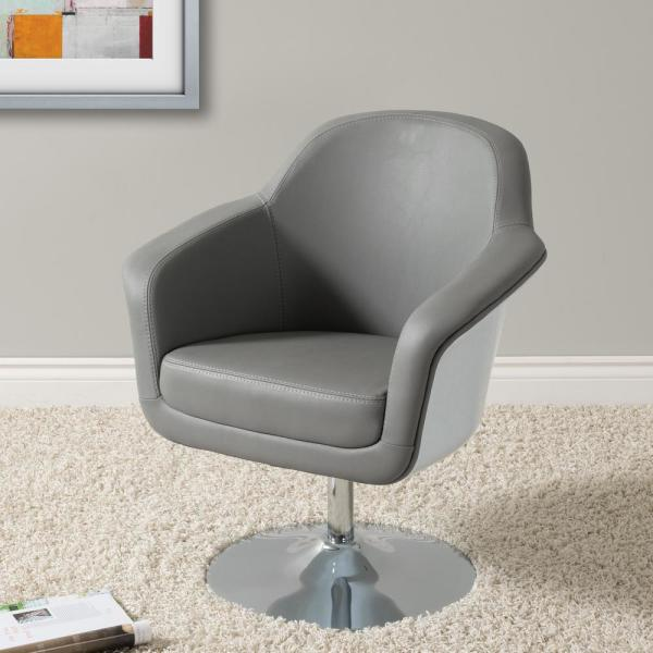 CorLiving Mod Modern Grey and White Bonded Leather Accent Chair