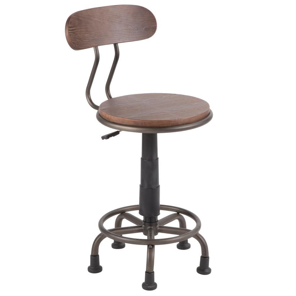 Lumisource Dakota Antique Metal and Espresso Wood Task Chair - Lumisource Dakota Antique Metal And Espresso Wood Task Chair-OC-DKTA