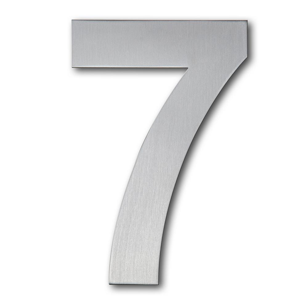 Qt home decor 6 in brushed stainless steel floating modern number 7
