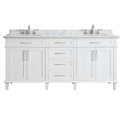 Sonoma 72 in. W x 22 in. D Bath Vanity in White with Carrara Marble Top with White Sinks