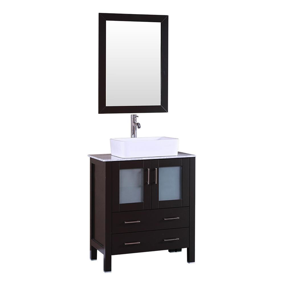 30 in. W Single Bath Vanity with Carrara Marble Vanity Top