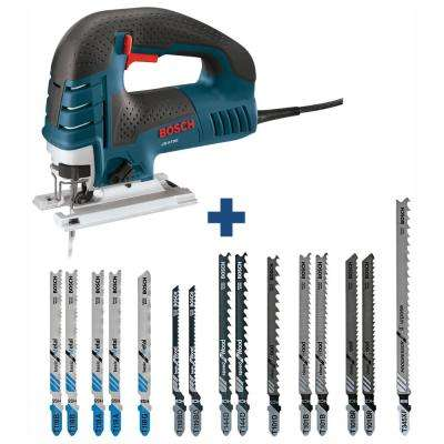 7 Amp Corded Variable Speed Top-Handle Jig Saw Kit with Case and Bonus T-Shank Jig Saw Blades (15-Pack)