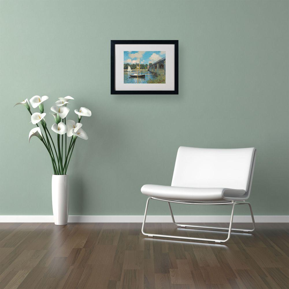 Trademark Fine Art 16 in. x 20 in. The Bridge at Argenteuil Matted Black Framed Wall Art