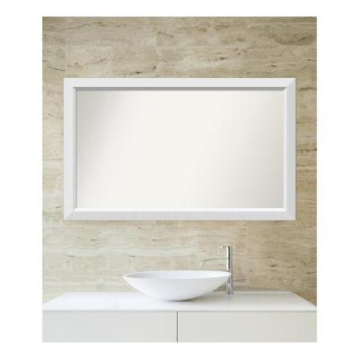 Medium Rectangle White Modern Mirror (27 in. H x 44 in. W)