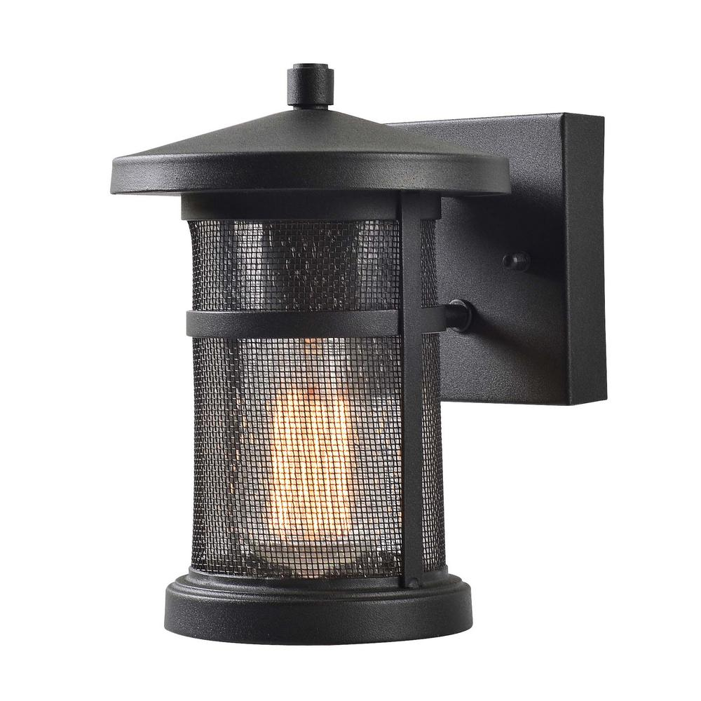Kenroy Home Carlson 1-Lightt Black Outdoor Wall Lantern Sconce