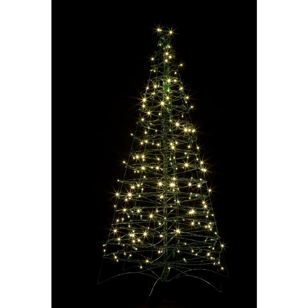 crab pot trees 5 ft pre lit led fold flat outdoorindoor artificial - White Outdoor Christmas Tree