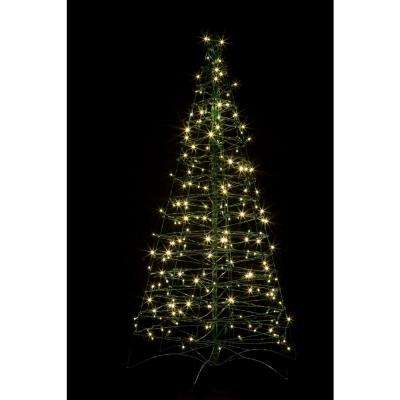 5 ft. Pre-Lit LED Fold Flat Outdoor/Indoor Artificial Christmas Tree with 210 Warm White Lights