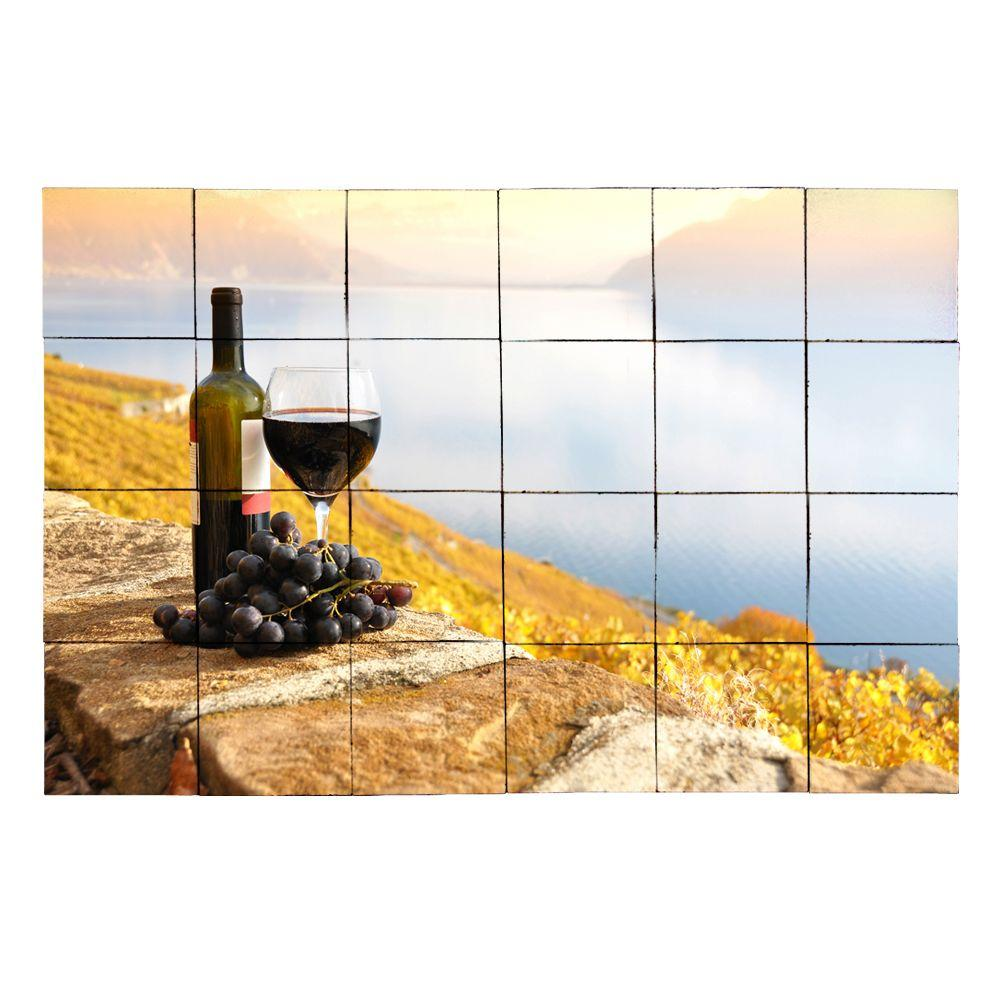 Tile My Style Wine1 36 in. x 24 in. Tumbled Marble Tiles (6 sq. ft. /case)