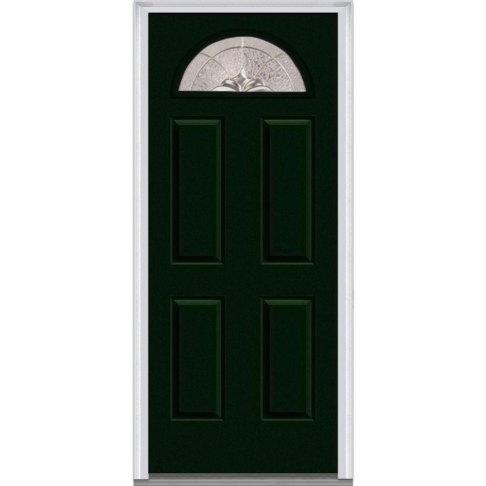 36 in. x 80 in. Heirloom Master Left-Hand 1/4-Lite Decorative 4-Panel Painted Fiberglass Smooth Prehung Front Door