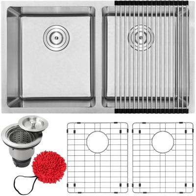 Arlo Undermount 18-Gauge Stainless Steel 31 in. Double Bowl Kitchen Sink with Accessory Kit