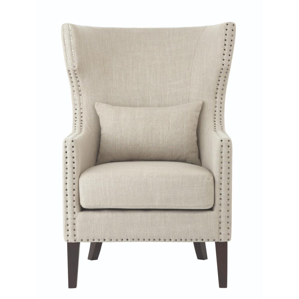 Bentley Birch Neutral Linen Upholstered Arm Chair