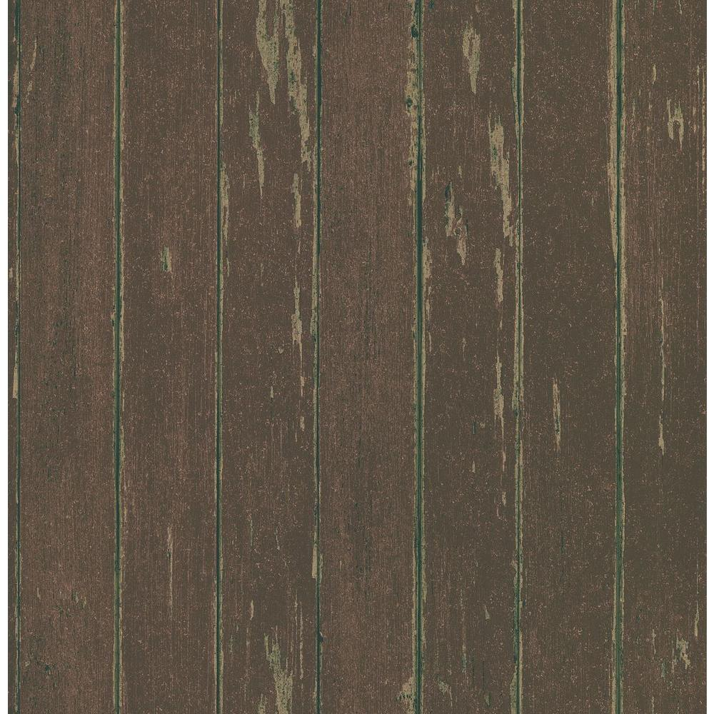 Brewster Northwoods Lodge Red Weathered Plank Wallpaper Sample