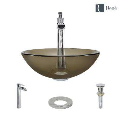 Glass Vessel Sink in Cashmere with R9-7007 Faucet and Pop-Up Drain in Chrome