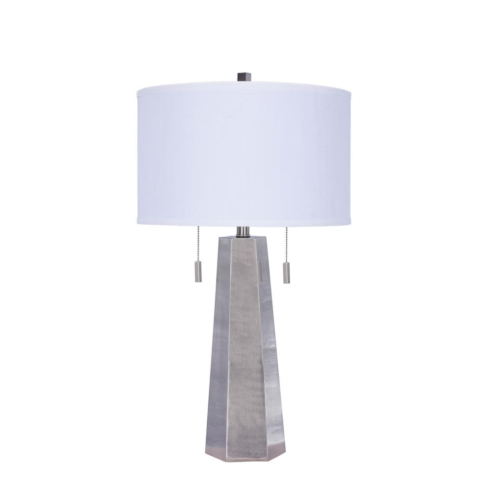 30 in. Metal Table Lamp In Antique Silver