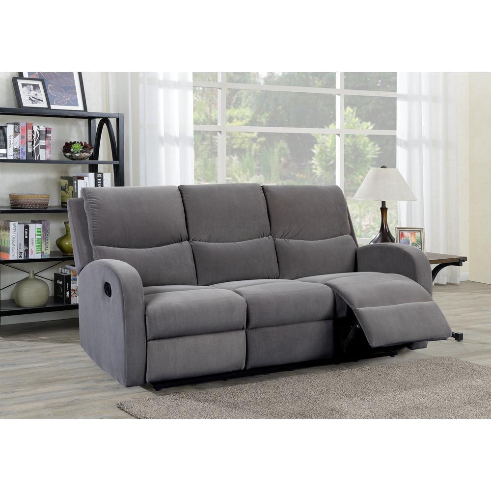 Louis 3 Seat Grey Velvet Reclining Sofa