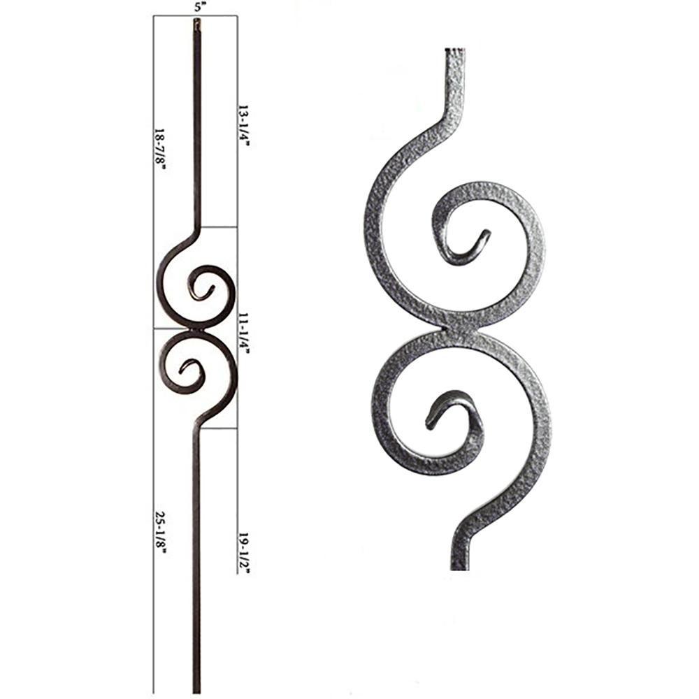 house of forgings versatile 44 in  x 0 5 in  silver vein double spiral solid wrought iron