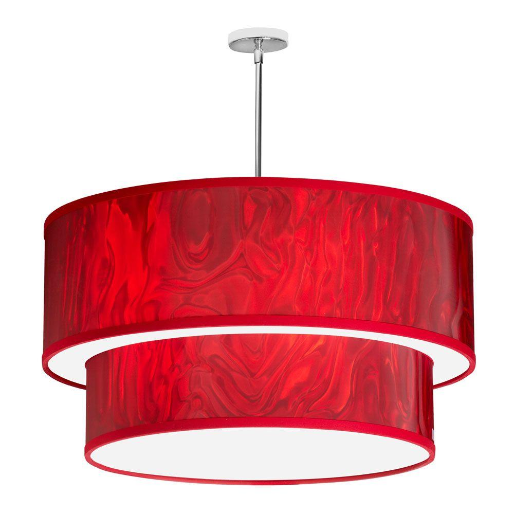 Filament Design Catherine 6-Light Red Ice and Polished Chrome Pendant