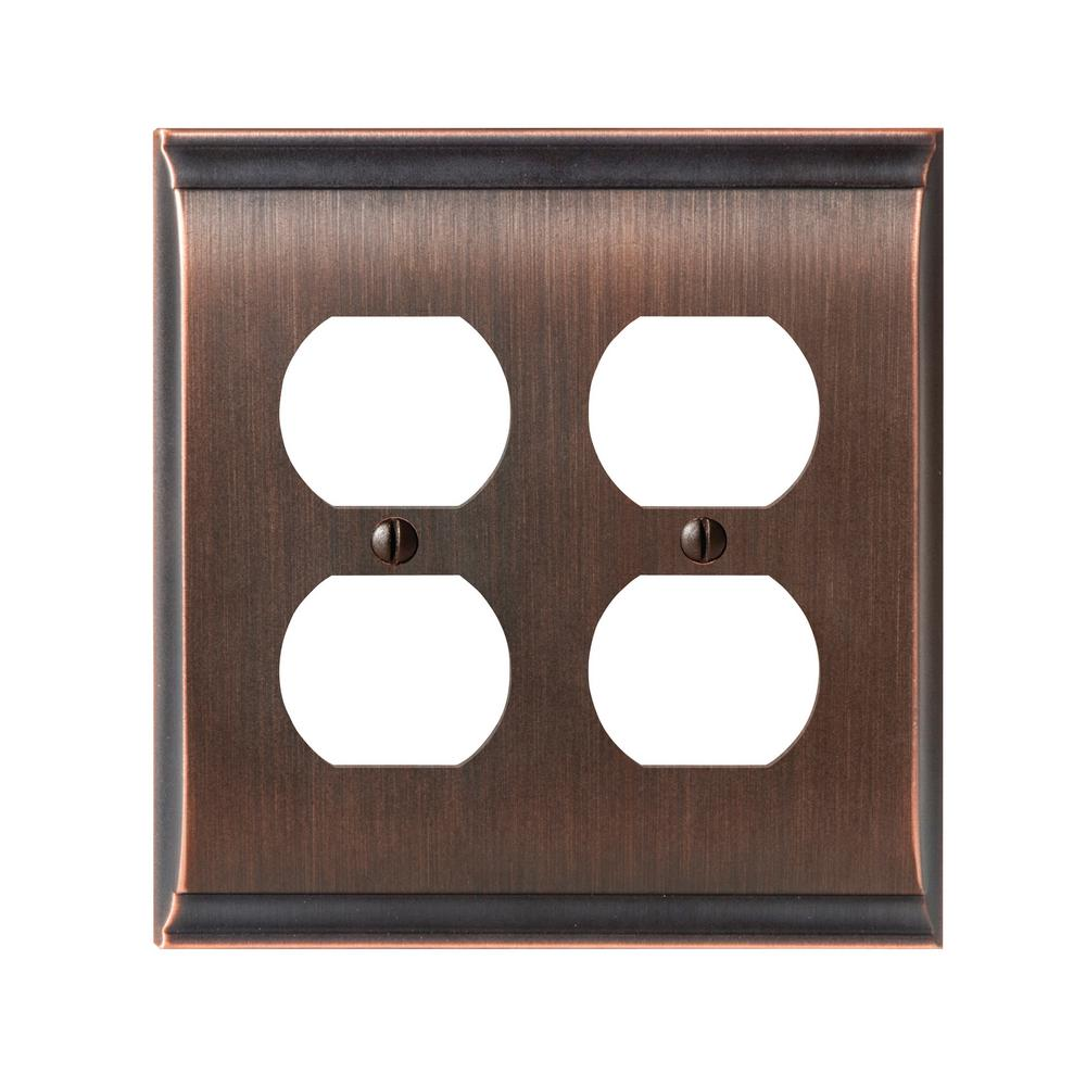Candler 2-Duplex Outlet Wall Plate, Oil-Rubbed Bronze